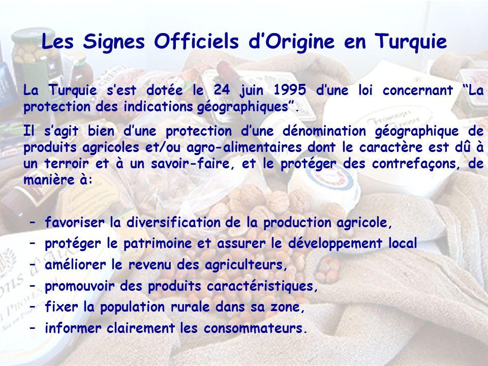 Les Signes Officiels dOrigine en Turquie La Turquie sest dotée le 24 juin 1995 dune loi concernant La protection des indications géographiques.