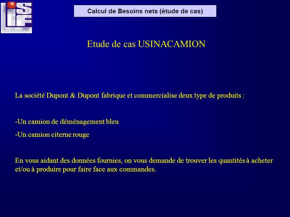 Calcul de Besoins nets (étude de cas) Etude de cas USINACAMION La société Dupont & Dupont fabrique et commercialise deux type de produits : -Un camion