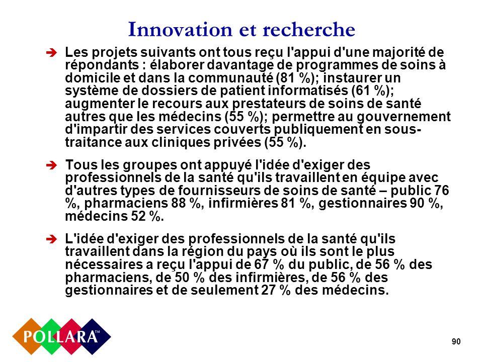 90 Innovation et recherche Les projets suivants ont tous reçu l appui d une majorité de répondants : élaborer davantage de programmes de soins à domicile et dans la communauté (81 %); instaurer un système de dossiers de patient informatisés (61 %); augmenter le recours aux prestateurs de soins de santé autres que les médecins (55 %); permettre au gouvernement d impartir des services couverts publiquement en sous- traitance aux cliniques privées (55 %).