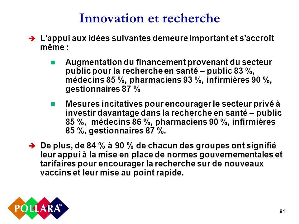 91 Innovation et recherche L'appui aux idées suivantes demeure important et s'accroît même : Augmentation du financement provenant du secteur public p