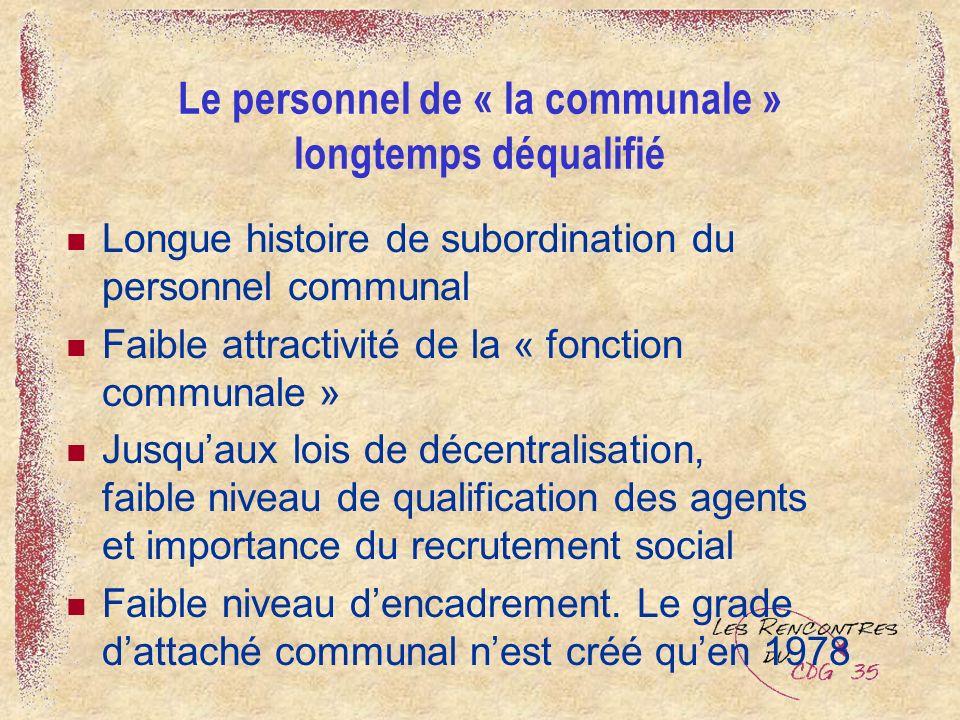 Le personnel de « la communale » longtemps déqualifié Longue histoire de subordination du personnel communal Faible attractivité de la « fonction comm