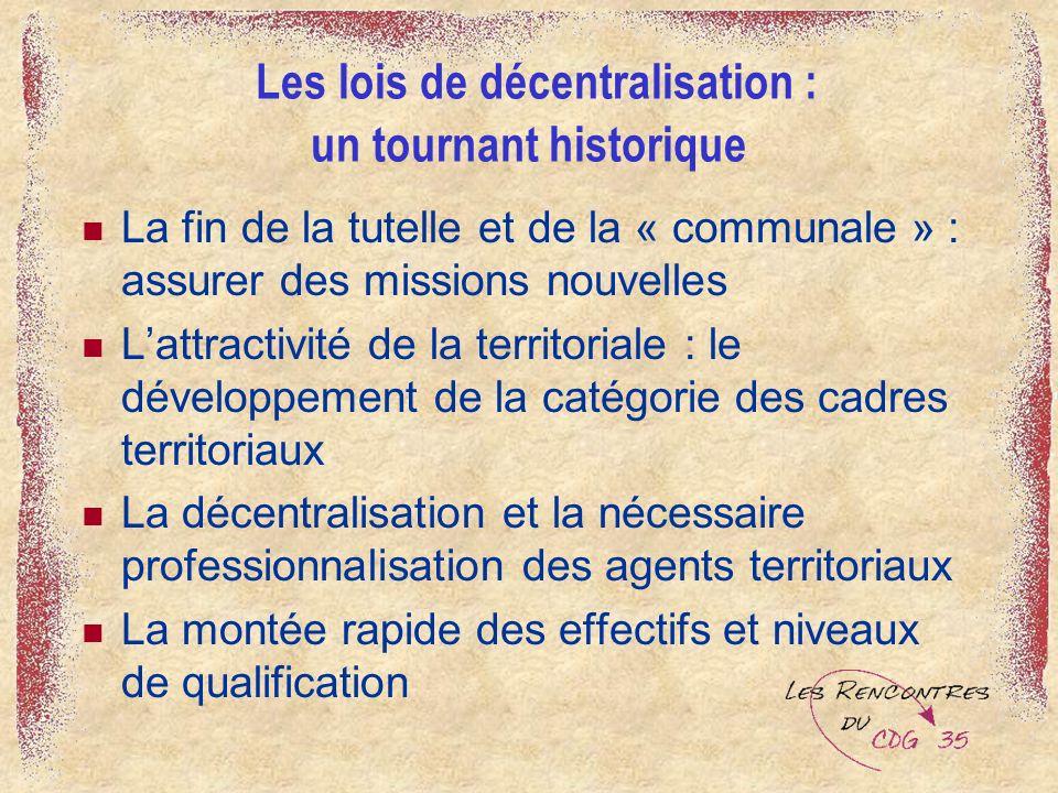 Les lois de décentralisation : un tournant historique La fin de la tutelle et de la « communale » : assurer des missions nouvelles Lattractivité de la