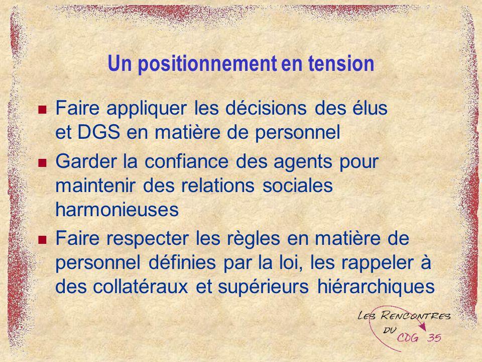 Un positionnement en tension Faire appliquer les décisions des élus et DGS en matière de personnel Garder la confiance des agents pour maintenir des r