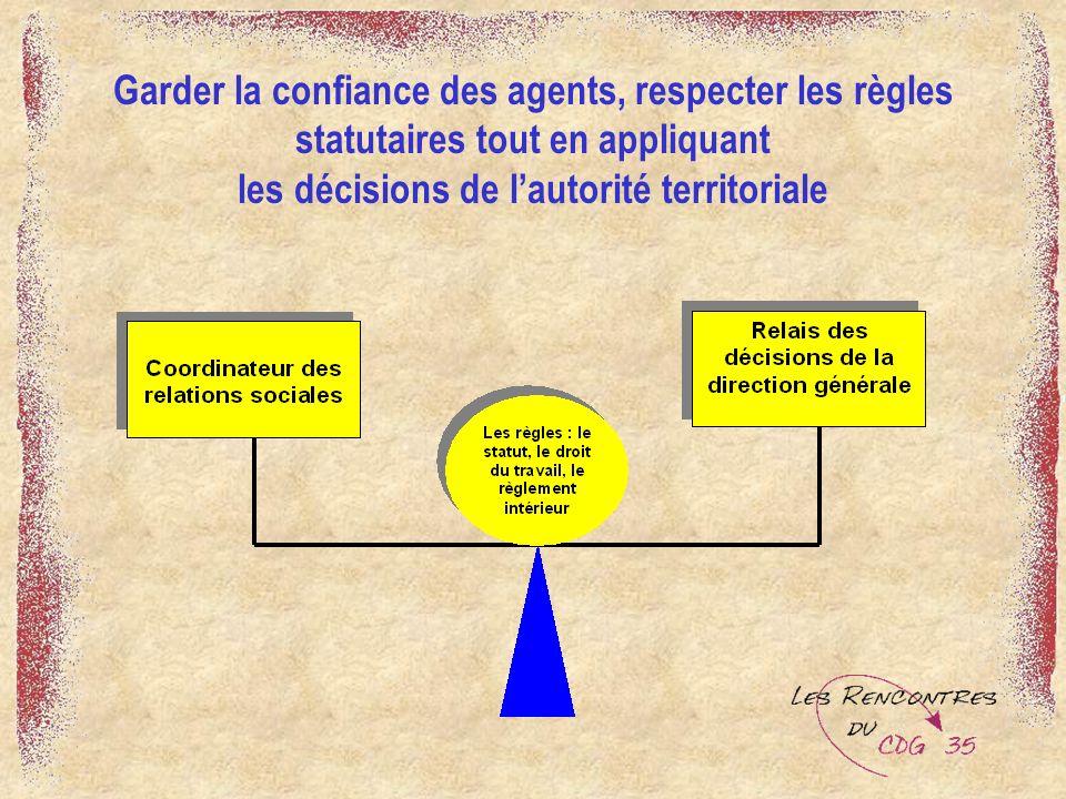 Garder la confiance des agents, respecter les règles statutaires tout en appliquant les décisions de lautorité territoriale