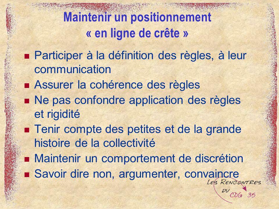 Maintenir un positionnement « en ligne de crête » Participer à la définition des règles, à leur communication Assurer la cohérence des règles Ne pas c