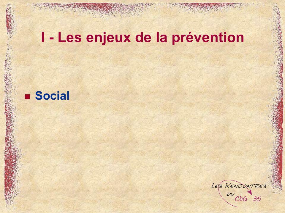 I - Les enjeux de la prévention Social