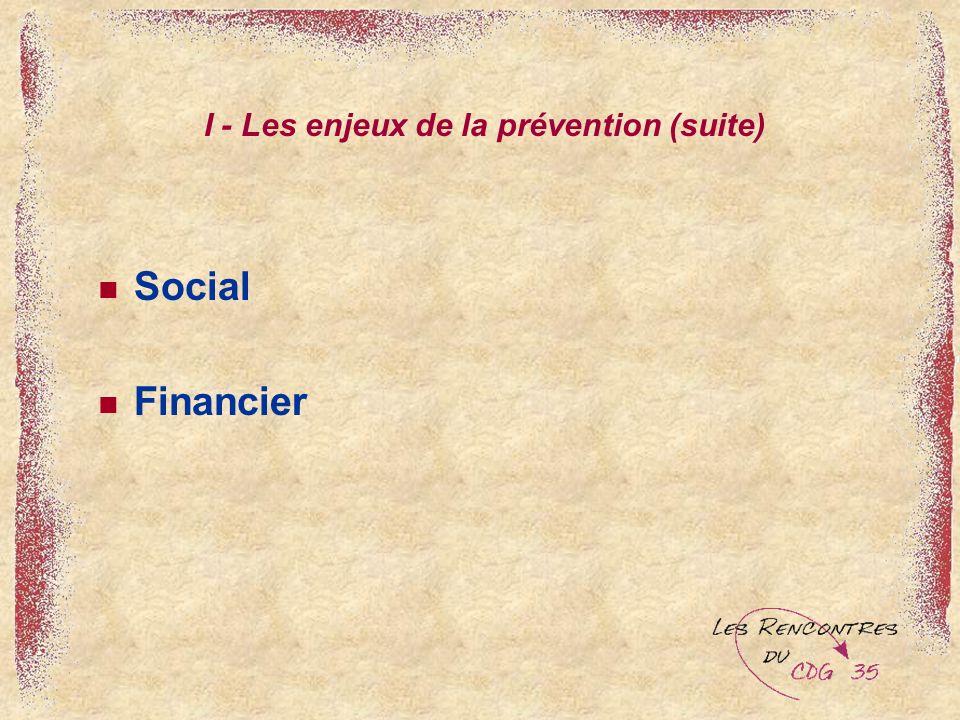 I - Les enjeux de la prévention (suite) Social Financier