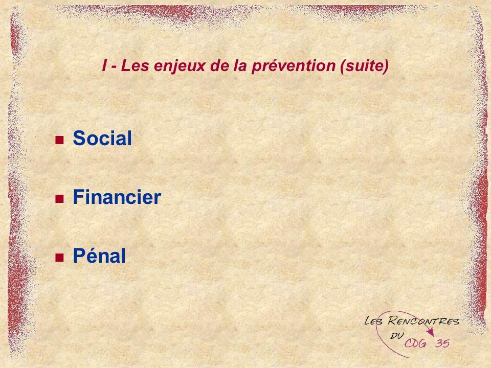 I - Les enjeux de la prévention (suite) Social Financier Pénal