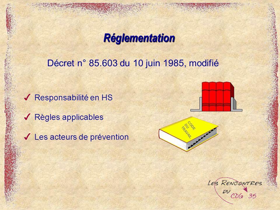 4Responsabilité en HS 4Règles applicables 4Les acteurs de préventionRéglementation Décret n° 85.603 du 10 juin 1985, modifié CODE DU TRAVAIL