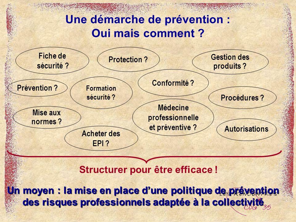 Un moyen : la mise en place dune politique de prévention des risques professionnels adaptée à la collectivité Une démarche de prévention : Oui mais co