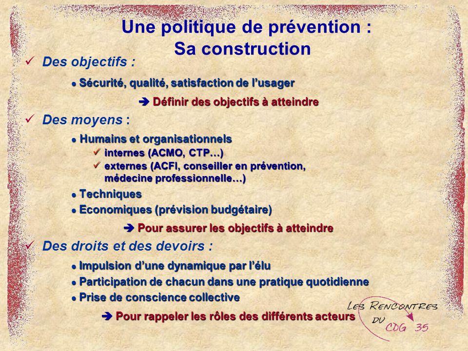 Une politique de prévention : Sa construction Des objectifs : Sécurité, qualité, satisfaction de lusager Sécurité, qualité, satisfaction de lusager Dé