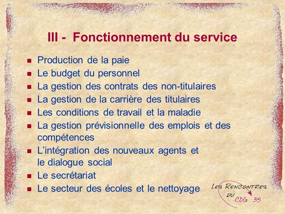 III - Fonctionnement du service Production de la paie Le budget du personnel La gestion des contrats des non-titulaires La gestion de la carrière des