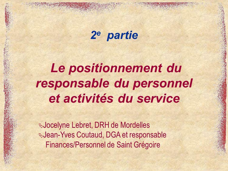 Le positionnement du responsable du personnel et activités du service 2 e partie Jocelyne Lebret, DRH de Mordelles Jean-Yves Coutaud, DGA et responsab