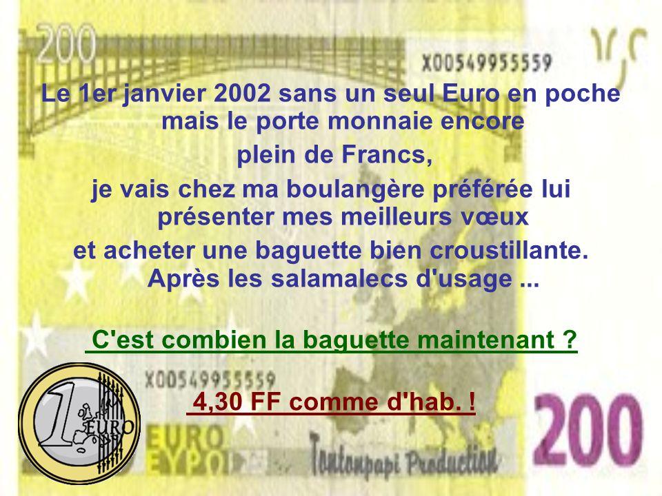 Le 1er janvier 2002 sans un seul Euro en poche mais le porte monnaie encore plein de Francs, je vais chez ma boulangère préférée lui présenter mes meilleurs vœux et acheter une baguette bien croustillante.