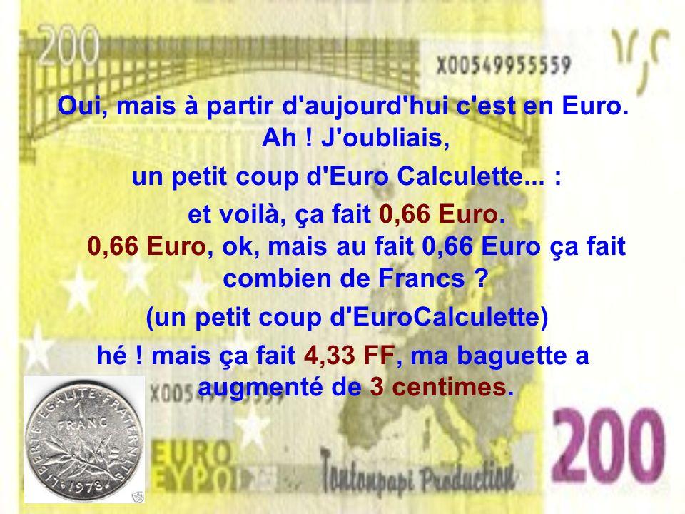 Le 1er janvier 2002 sans un seul Euro en poche mais le porte monnaie encore plein de Francs, je vais chez ma boulangère préférée lui présenter mes mei