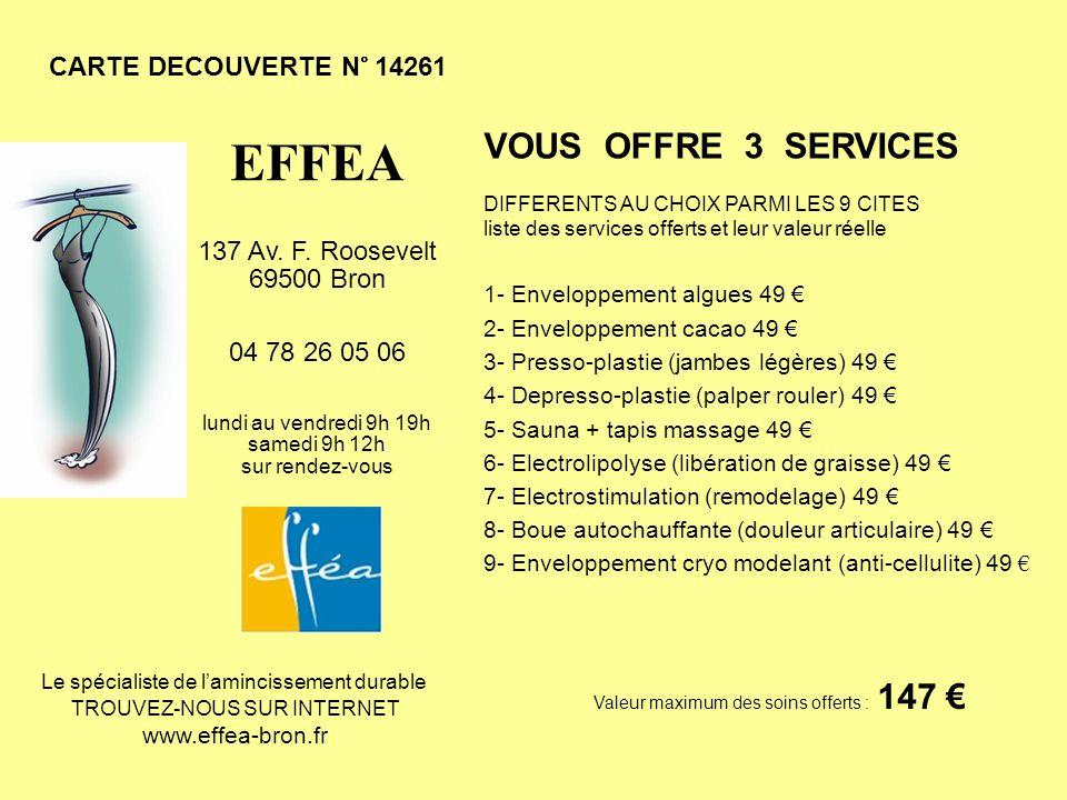 CARTE DECOUVERTE N° 14261 VOUS OFFRE 3 SERVICES DIFFERENTS AU CHOIX PARMI LES 9 CITES liste des services offerts et leur valeur réelle 1- Enveloppemen