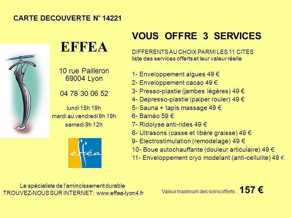 CARTE DECOUVERTE N° 14221 VOUS OFFRE 3 SERVICES DIFFERENTS AU CHOIX PARMI LES 11 CITES liste des services offerts et leur valeur réelle 1- Enveloppeme