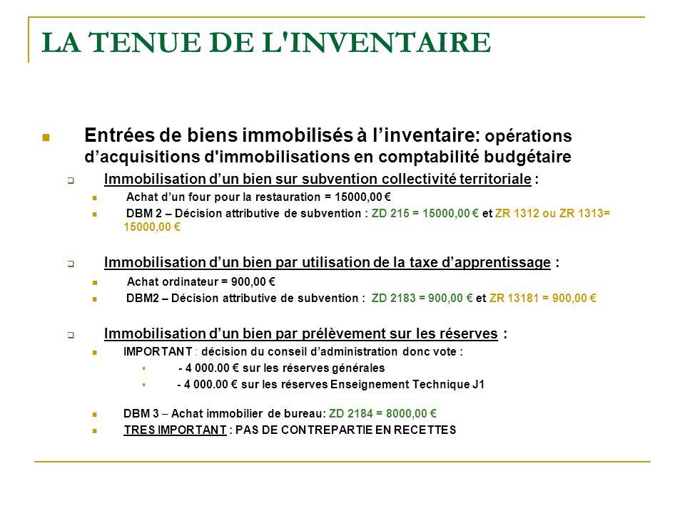 LA TENUE DE L'INVENTAIRE Entrées de biens immobilisés à linventaire: opérations dacquisitions d'immobilisations en comptabilité budgétaire Immobilisat
