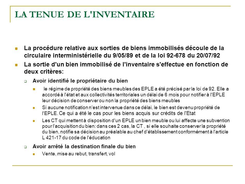 LA TENUE DE L'INVENTAIRE La procédure relative aux sorties de biens immobilisés découle de la circulaire interministérielle du 9/05/89 et de la loi 92