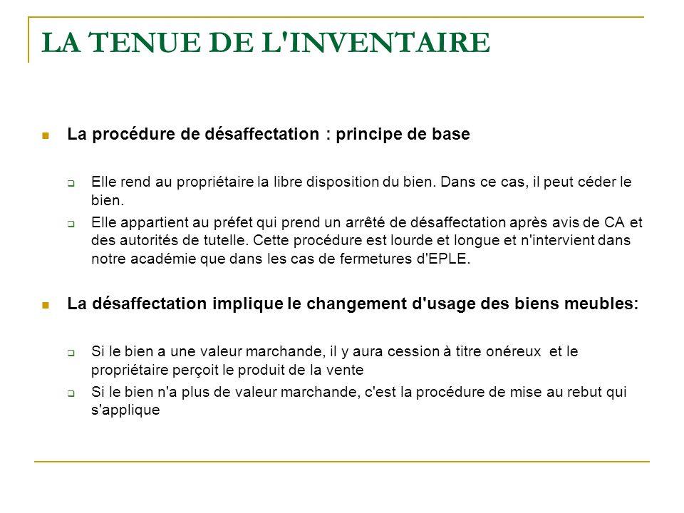 LA TENUE DE L'INVENTAIRE La procédure de désaffectation : principe de base Elle rend au propriétaire la libre disposition du bien. Dans ce cas, il peu