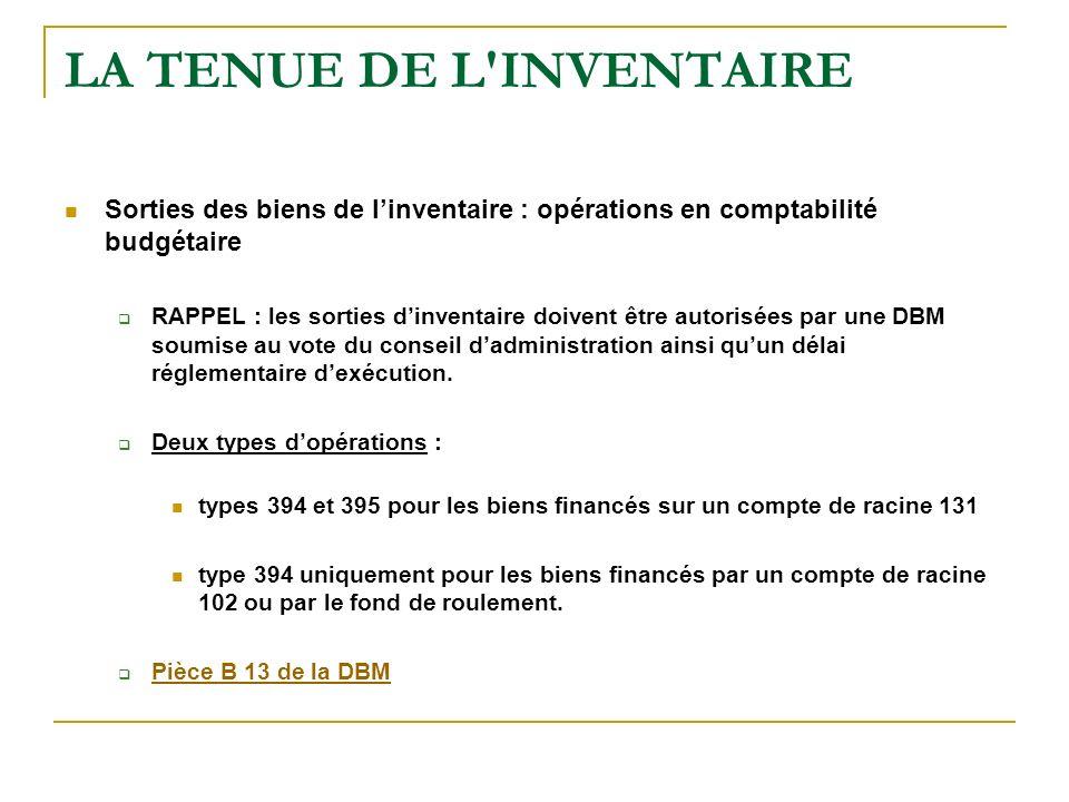 LA TENUE DE L'INVENTAIRE Sorties des biens de linventaire : opérations en comptabilité budgétaire RAPPEL : les sorties dinventaire doivent être autori