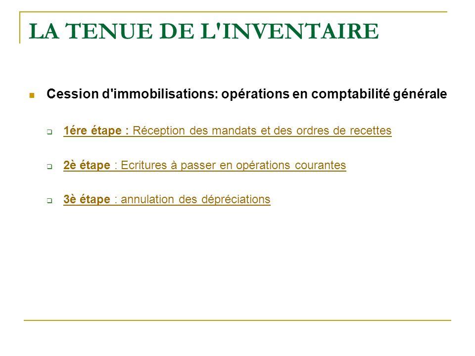 LA TENUE DE L'INVENTAIRE Cession d'immobilisations: opérations en comptabilité générale 1ére étape : Réception des mandats et des ordres de recettes 1