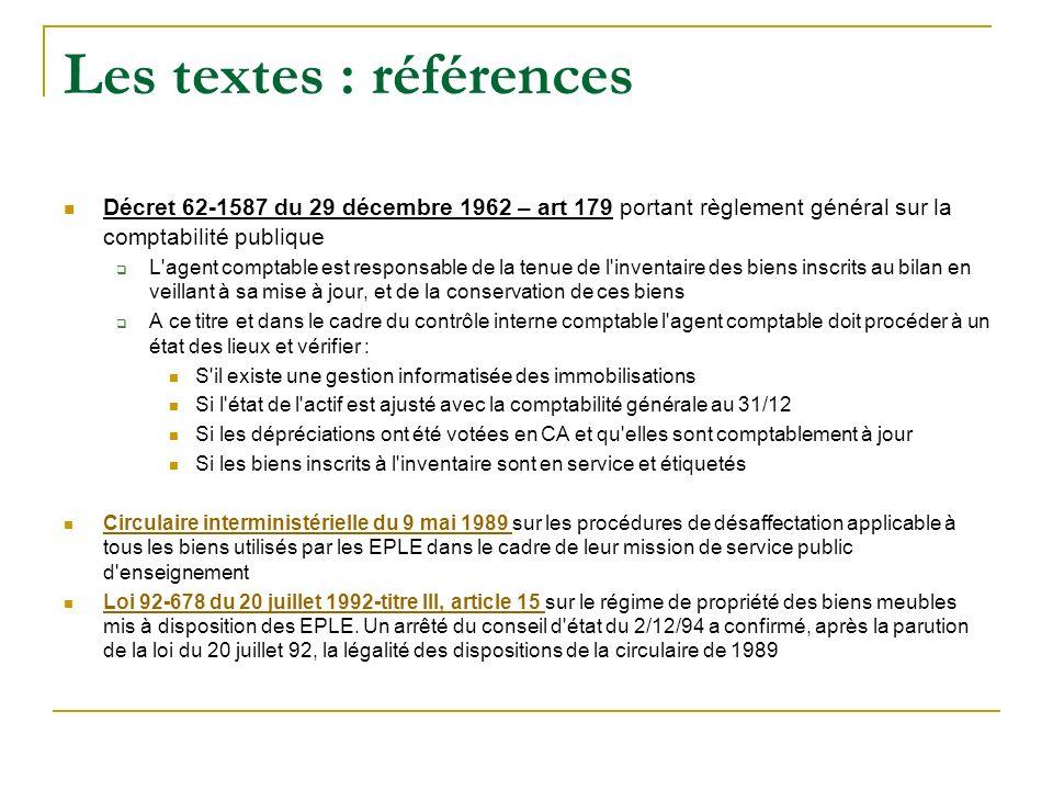 Les textes : références Décret 62-1587 du 29 décembre 1962 – art 179 portant règlement général sur la comptabilité publique L'agent comptable est resp