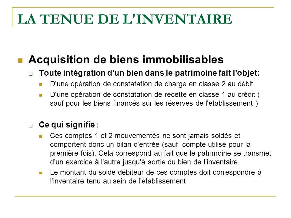 LA TENUE DE L'INVENTAIRE Acquisition de biens immobilisables Toute intégration d'un bien dans le patrimoine fait l'objet: D'une opération de constatat