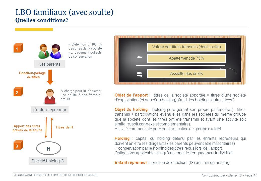 LA COMPAGNIE FINANCIÈRE EDMOND DE ROTHSCHILD BANQUE Non contractuel - Mai 2010 - Page 11 LBO familiaux (avec soulte) Quelles conditions? Les parents 1