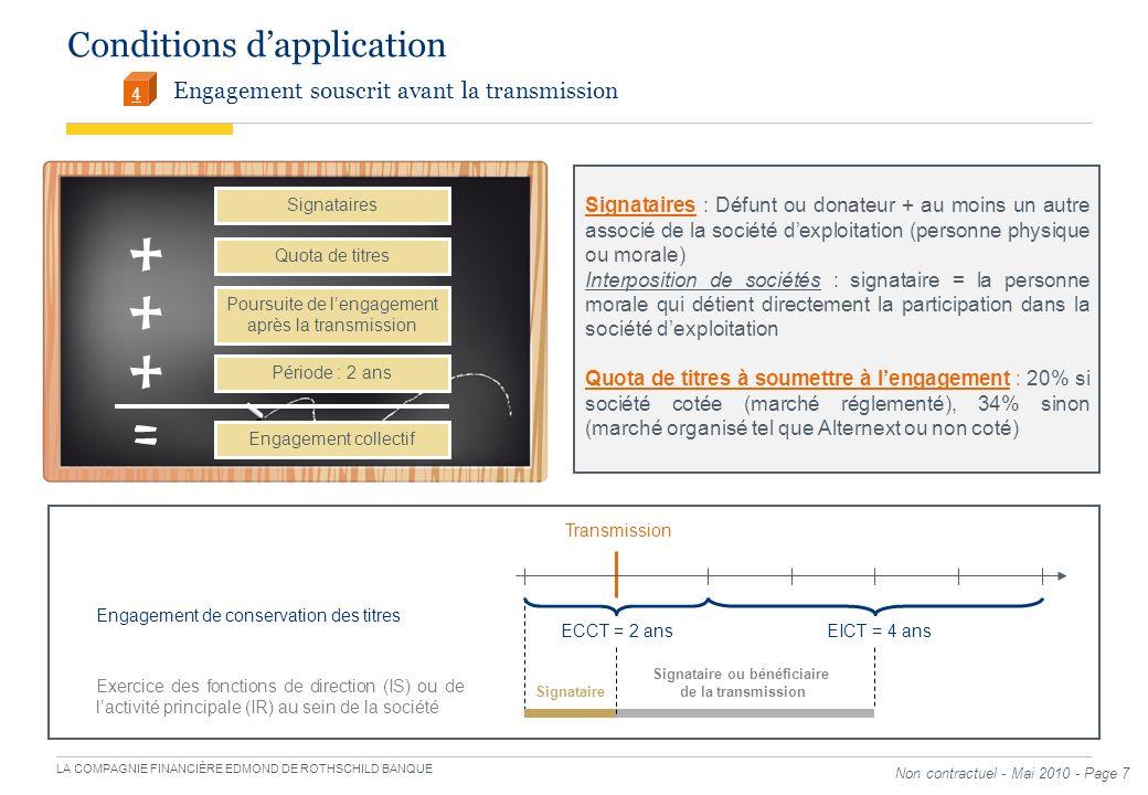 LA COMPAGNIE FINANCIÈRE EDMOND DE ROTHSCHILD BANQUE Non contractuel - Mai 2010 - Page 7 Conditions dapplication Engagement souscrit avant la transmiss