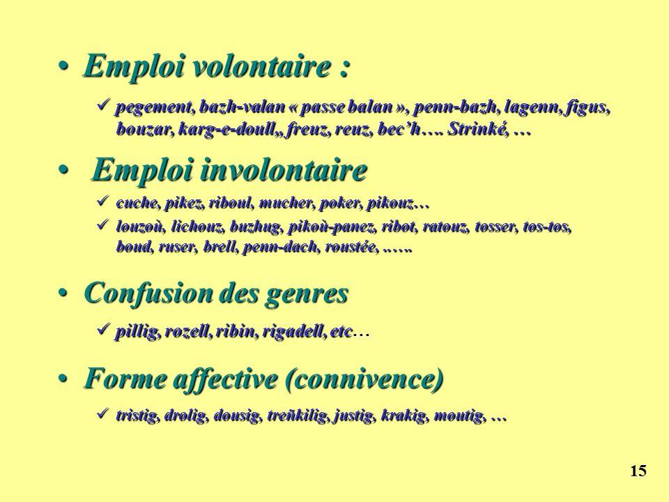 15 Emploi volontaire :Emploi volontaire : pegement, bazh-valan « passe balan », penn-bazh, lagenn, figus, bouzar, karg-e-doull,, freuz, reuz, bech…. S