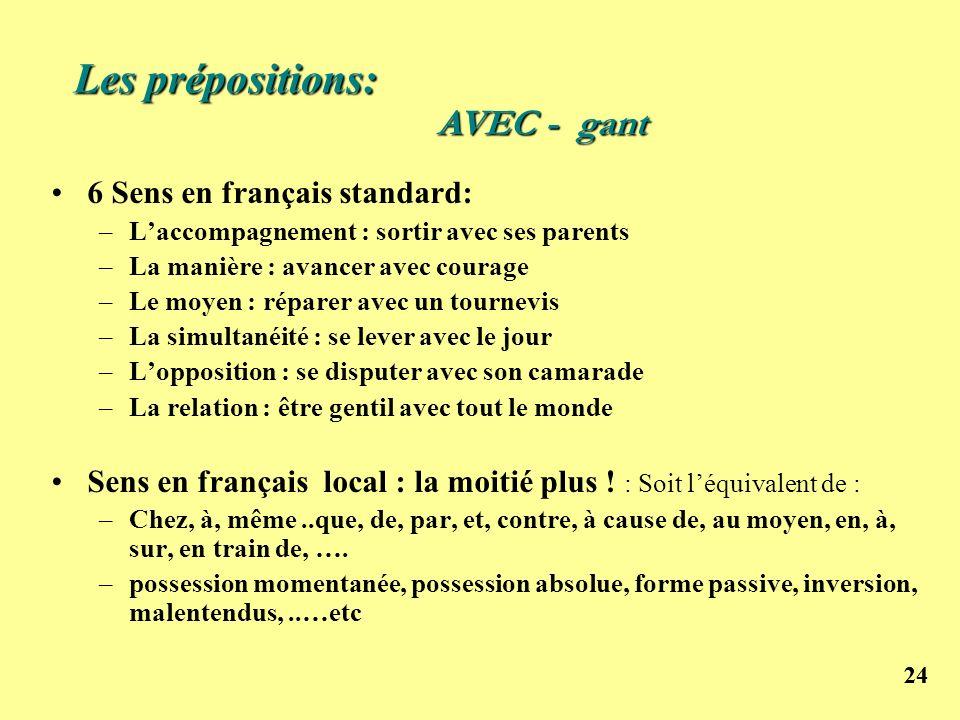 24 Les prépositions: 6 Sens en français standard: –Laccompagnement : sortir avec ses parents –La manière : avancer avec courage –Le moyen : réparer av