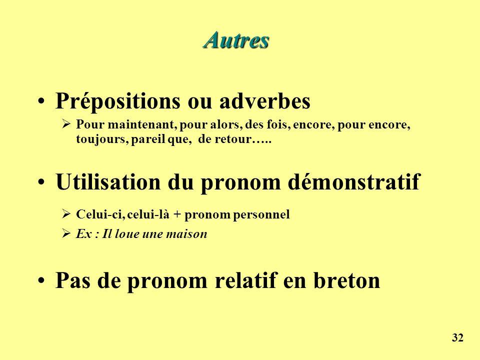 32 Prépositions ou adverbes Pour maintenant, pour alors, des fois, encore, pour encore, toujours, pareil que, de retour….. Utilisation du pronom démon