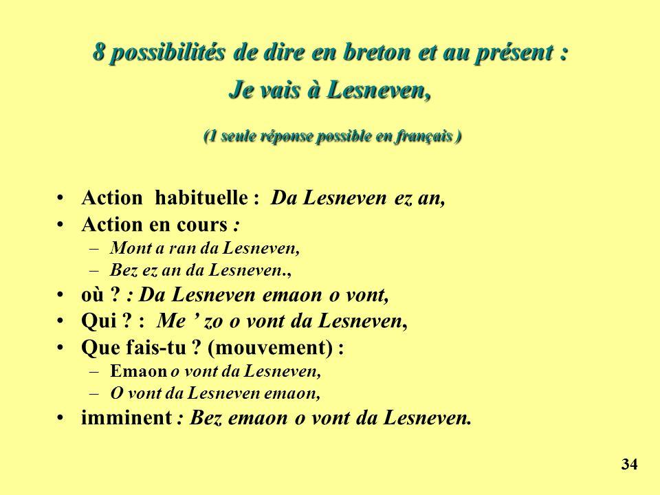 34 8 possibilités de dire en breton et au présent : Je vais à Lesneven, (1 seule réponse possible en français ) Action habituelle : Da Lesneven ez an,