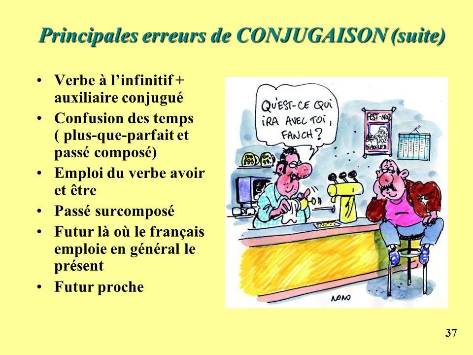 37 Principales erreurs de CONJUGAISON (suite) Verbe à linfinitif + auxiliaire conjugué Confusion des temps ( plus-que-parfait et passé composé) Emploi
