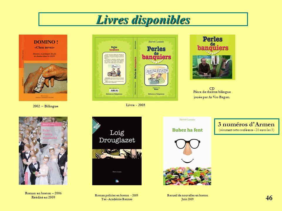 46 2002 – Bilingue CD Pièce de théâtre bilingue jouée par Ar Vro Bagan. Livre - 2005 Roman policier en breton - 2009 Tes -Académie Rennes Roman en bre