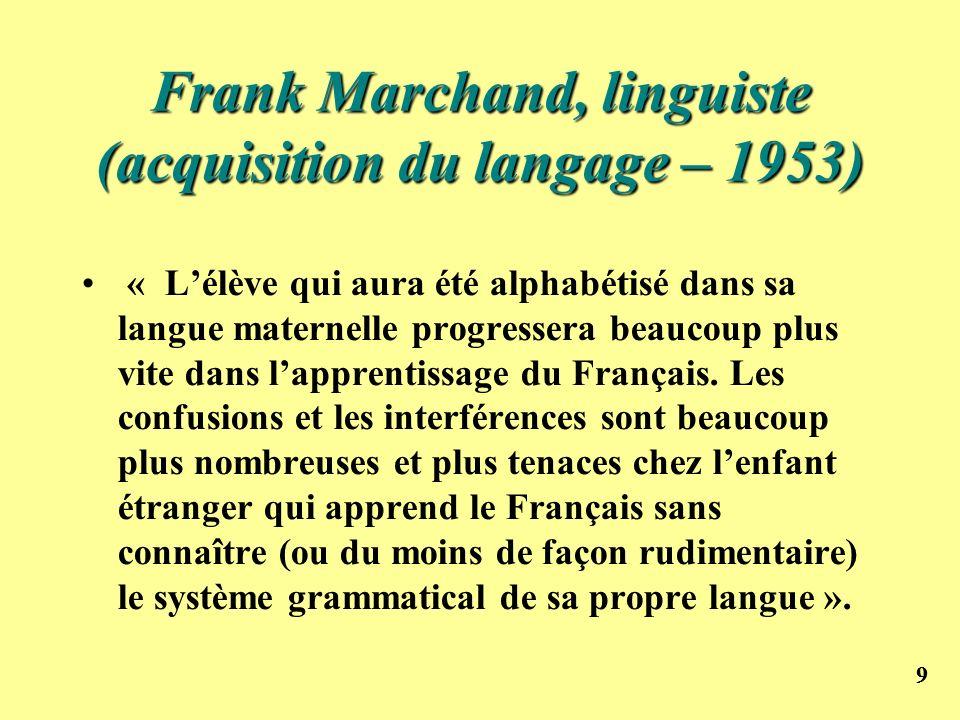 99 Frank Marchand, linguiste (acquisition du langage – 1953) « Lélève qui aura été alphabétisé dans sa langue maternelle progressera beaucoup plus vit