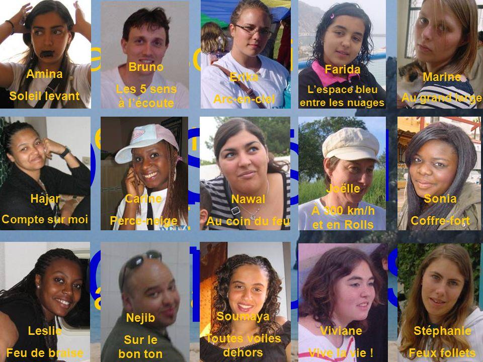 LES ACTEURS Voyage solidaire déchanges et danimation DESTINA TION Amina Soleil levant Erika Arc-en-ciel Bruno Les 5 sens à lécoute Farida Lespace bleu