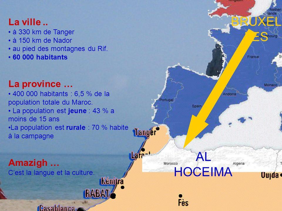 BRUXEL LES La ville.. à 330 km de Tanger à 150 km de Nador au pied des montagnes du Rif. 60 000 habitants La province … 400 000 habitants : 6,5 % de l
