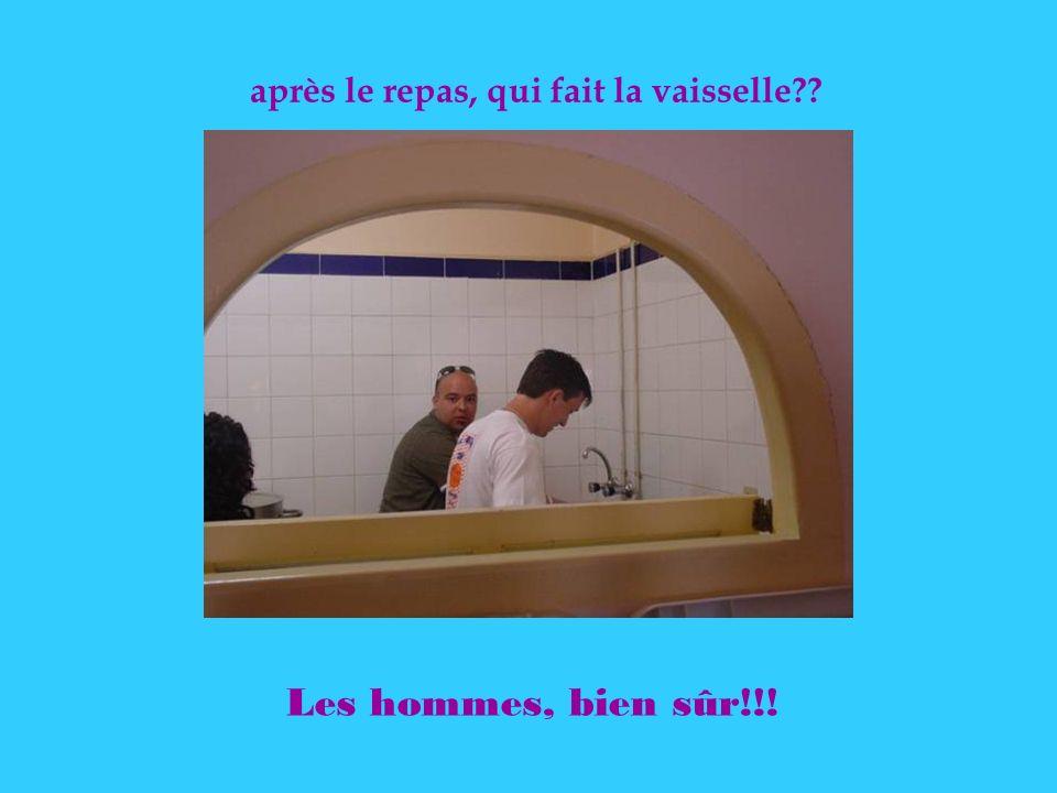 après le repas, qui fait la vaisselle?? Les hommes, bien sûr!!!