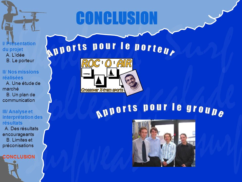 CONCLUSION I/ Présentation du projet A. Lidée B. Le porteur II/ Nos missions réalisées A. Une étude de marché B. Un plan de communication III/ Analyse