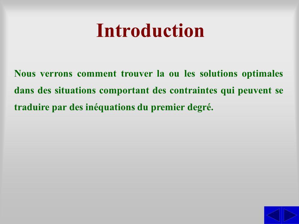 Introduction Nous verrons comment trouver la ou les solutions optimales dans des situations comportant des contraintes qui peuvent se traduire par des inéquations du premier degré.