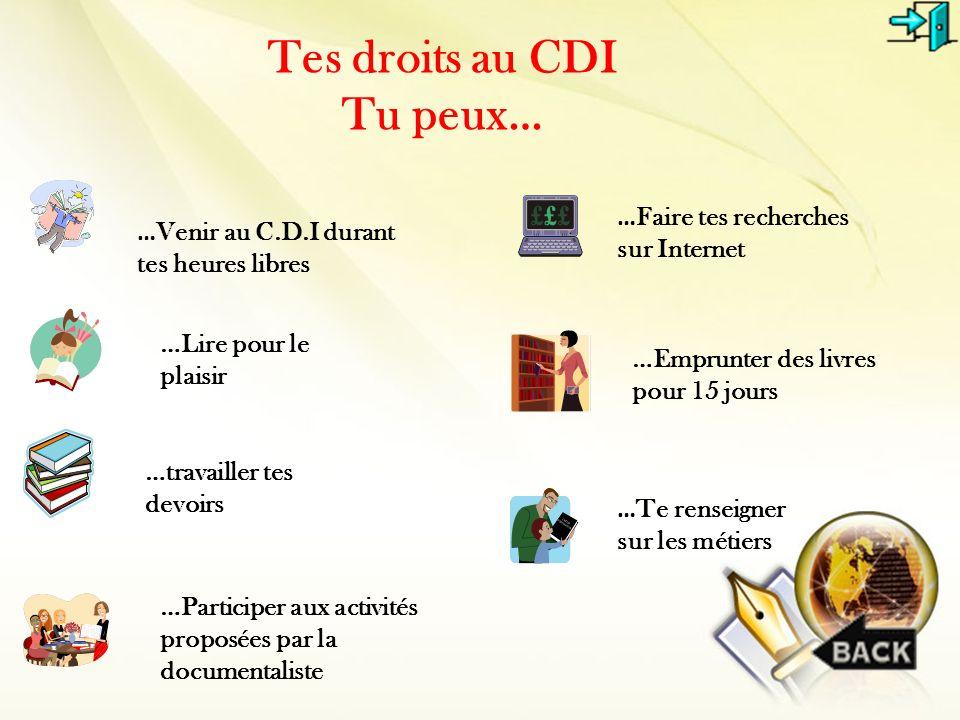 Tes droits au CDI Tu peux… … Venir au C.D.I durant tes heures libres …Lire pour le plaisir …Emprunter des livres pour 15 jours …travailler tes devoirs