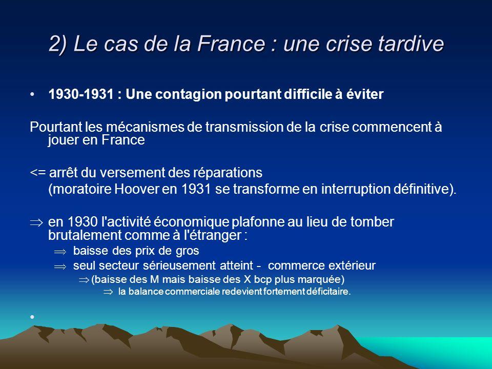 2) Le cas de la France : une crise tardive 1930-1931 : Une contagion pourtant difficile à éviter Pourtant les mécanismes de transmission de la crise commencent à jouer en France <= arrêt du versement des réparations (moratoire Hoover en 1931 se transforme en interruption définitive).