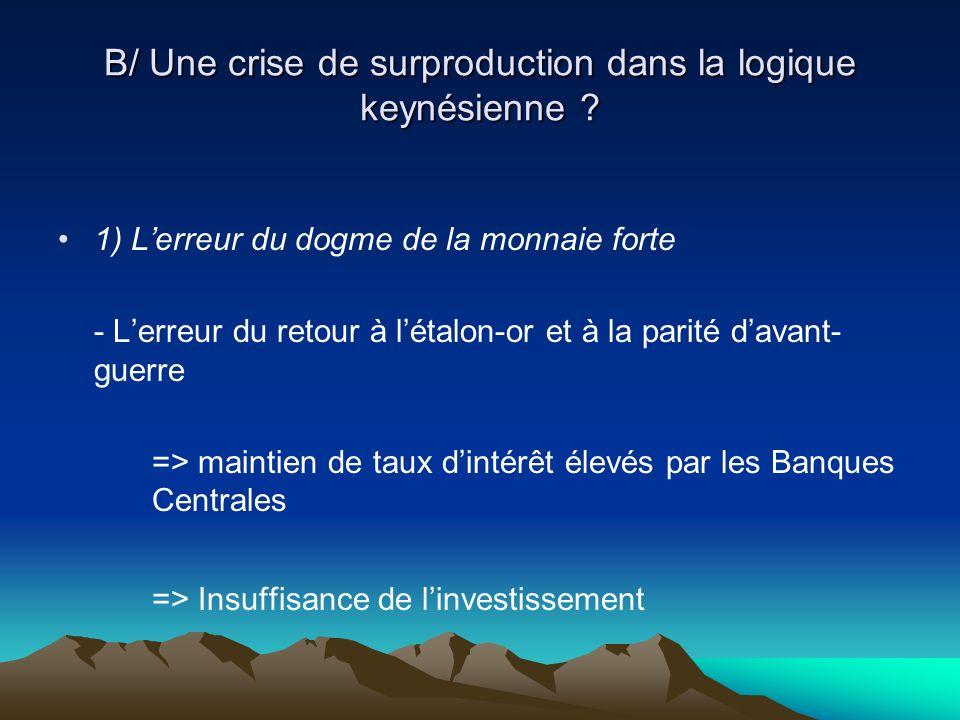 B/ Une crise de surproduction dans la logique keynésienne .