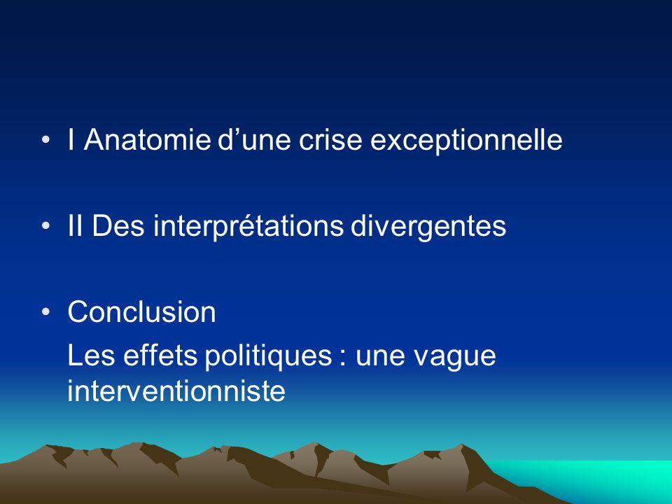 I Anatomie dune crise exceptionnelle II Des interprétations divergentes Conclusion Les effets politiques : une vague interventionniste