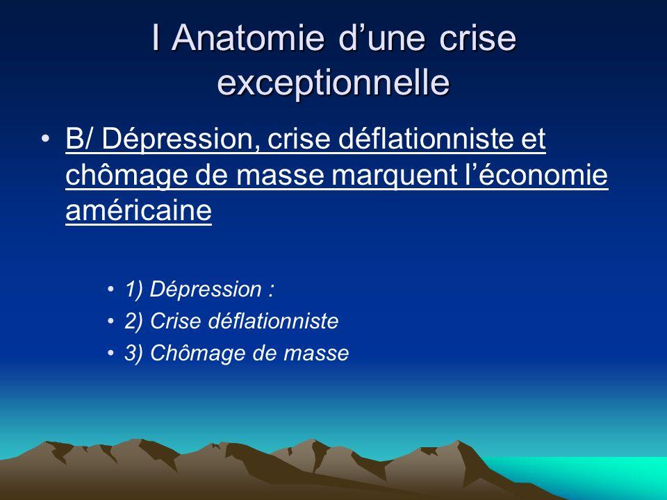 I Anatomie dune crise exceptionnelle B/ Dépression, crise déflationniste et chômage de masse marquent léconomie américaine 1) Dépression : 2) Crise déflationniste 3) Chômage de masse
