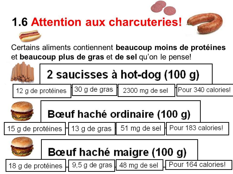 1.6 Attention aux charcuteries! Certains aliments contiennent beaucoup moins de protéines et beaucoup plus de gras et de sel quon le pense!