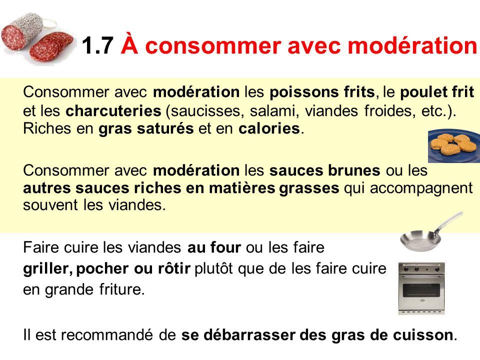 Consommer avec modération les poissons frits, le poulet frit et les charcuteries (saucisses, salami, viandes froides, etc.). Riches en gras saturés et