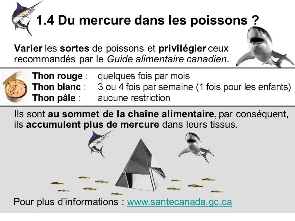 1.4 Du mercure dans les poissons ? Varier les sortes de poissons et privilégier ceux recommandés par le Guide alimentaire canadien. Attention aux espè